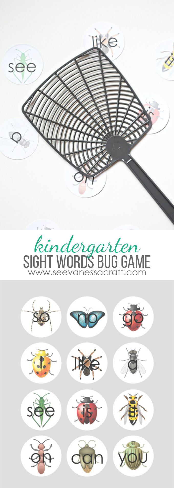 Sight Words Bug Game for Kindergarten