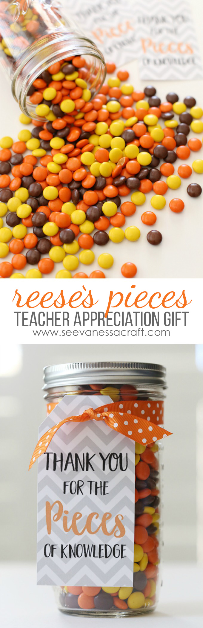 Teacher Appreciation Reese's Pieces Gift Idea - Free Printable Tags
