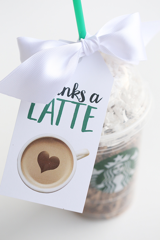 photo relating to Thanks a Latte Printable Tag named Due A Latte Starbucks Instructor Present Thought