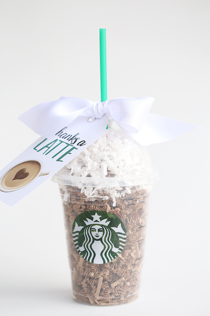 Thanks A Latte Starbucks Gift Card Tag Idea