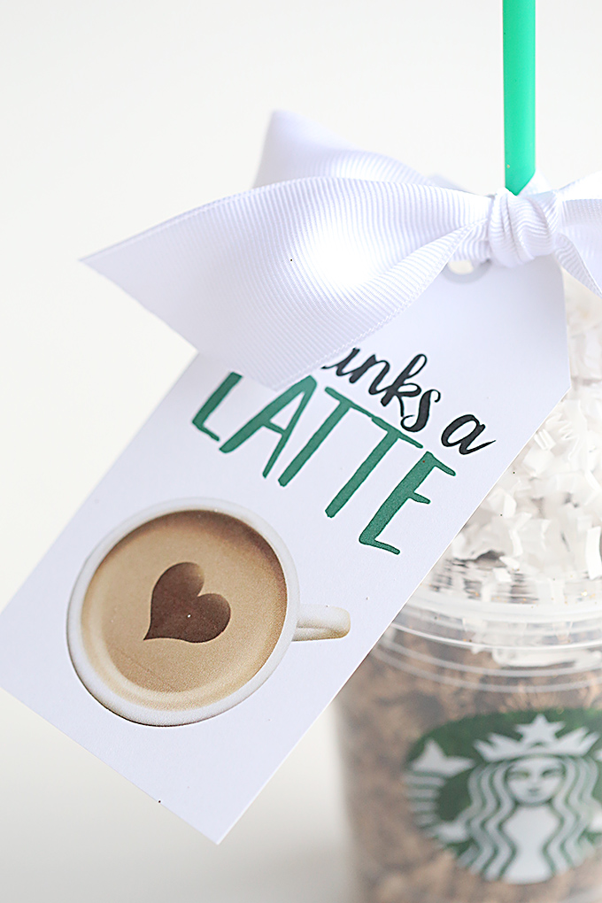 photograph regarding Thanks a Latte Printable Tag named Owing A Latte Starbucks Instructor Present Principle