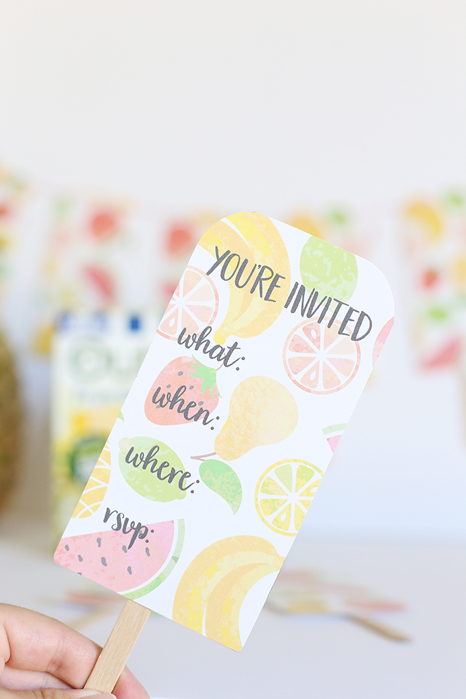 Summer Fruit Party Banner & Invitations Printables