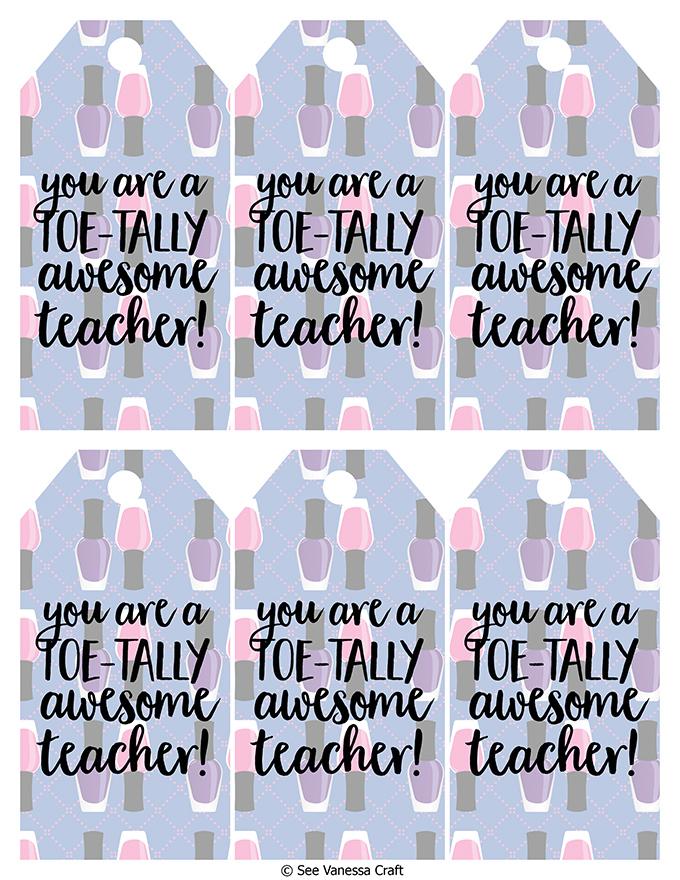 Toetally Awesome Teacher Tags