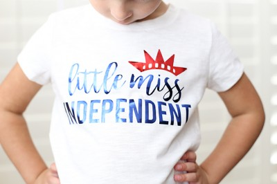 Little Miss Independent Easy 4th of July Foil Shirt with Cricut