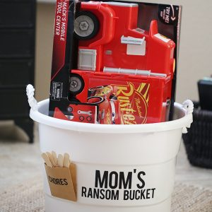 Mom's Ransom Toy Bucket for Toy Organization and Cars 3 Toys