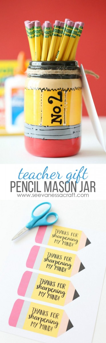 Pencil Mason Jar Back to School Teacher Gift Idea copy
