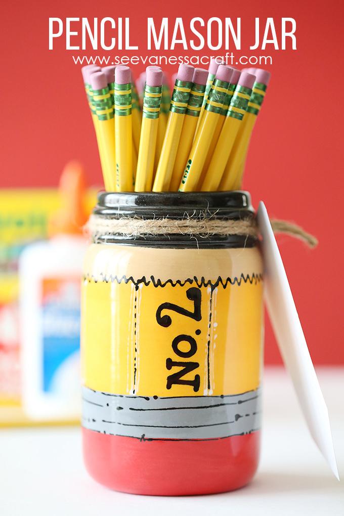 Pencil Mason Jar Gift Idea for Teachers