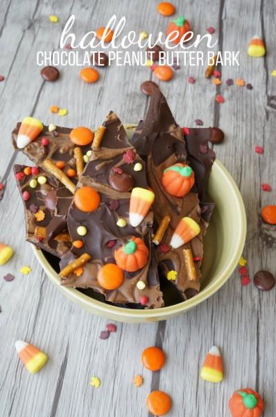 Halloween Chocolate Peanut Butter Bark Recipe