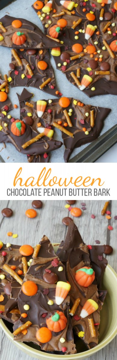 Halloween Chocolate Peanut Butter Bark Recipe