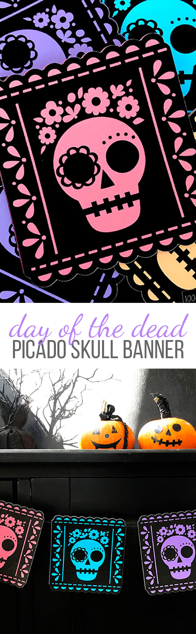 Halloween Day of the Dead Skull Banner Cut File for Cricut