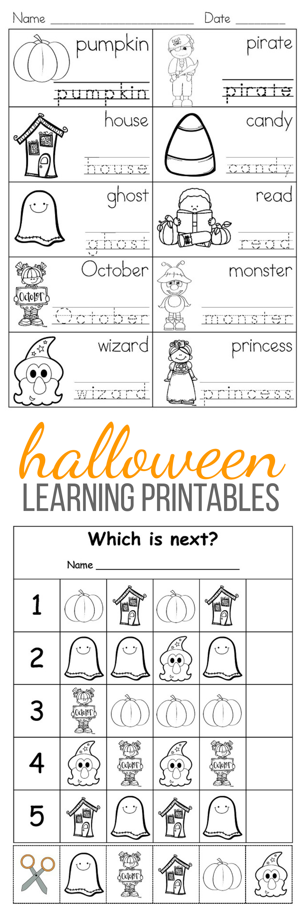 Halloween Free Learning Activities for Kids