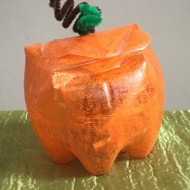 Upcycled Halloween Plastic Bottle Pumpkin Craft for Kids