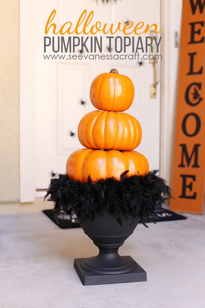 Halloween Stacked Pumpkin Topiary Tutorial