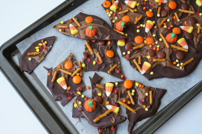 Halloween chocolate peanut butter bark broken into pieces