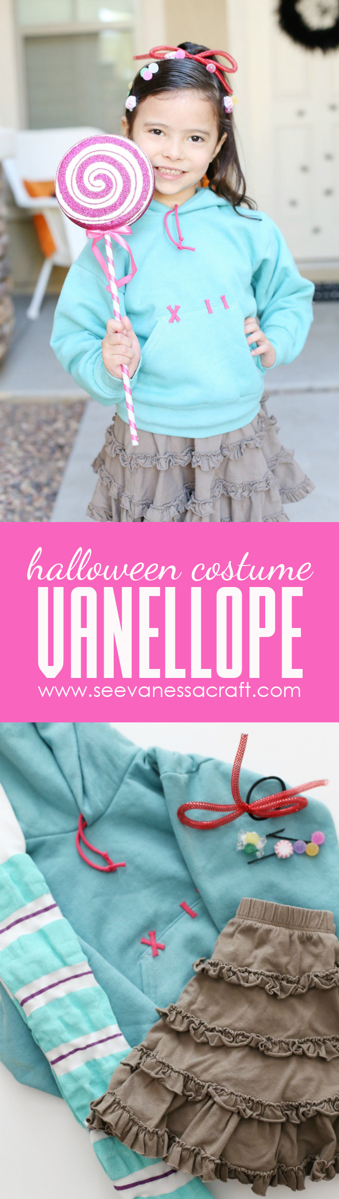 DIY Vanellope Halloween Costume from Disney Wreck It Ralph