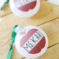 Christmas: Cricut Glitter Vinyl Ornaments Teacher Gift