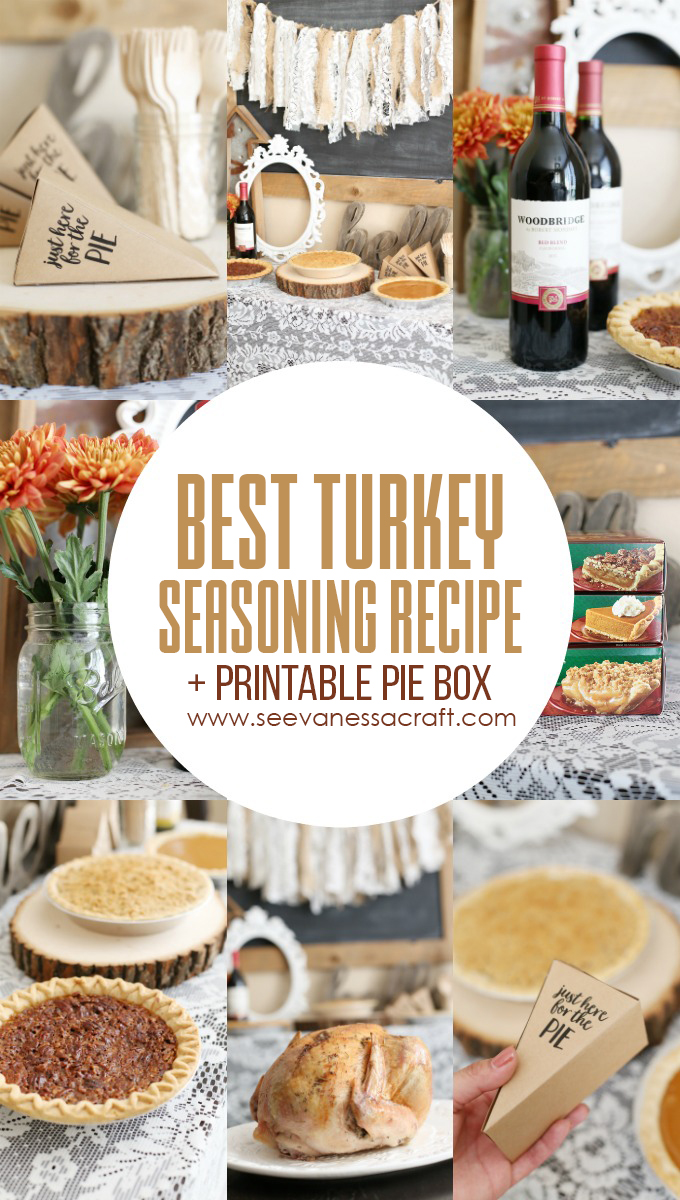 Thankgiving Pie Bar Printable and Turkey Seasoning Recipe