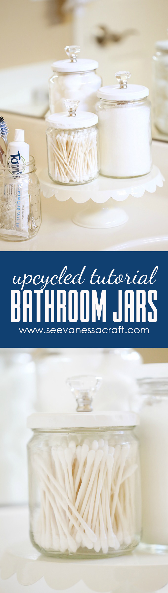 Upcycled Bathroom Jars Craft Tutorial