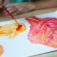 Kid Friendly: Fall Watercolor White Crayon Resist Art for Kids