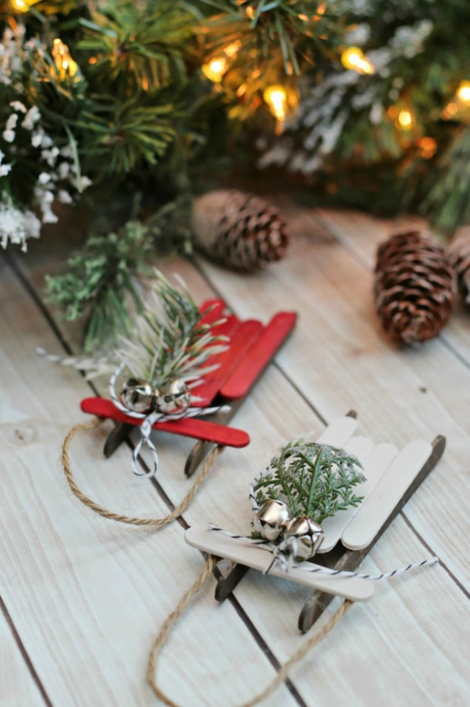 Handmade Christmas Ornaments – Popsicle Stick Sleds