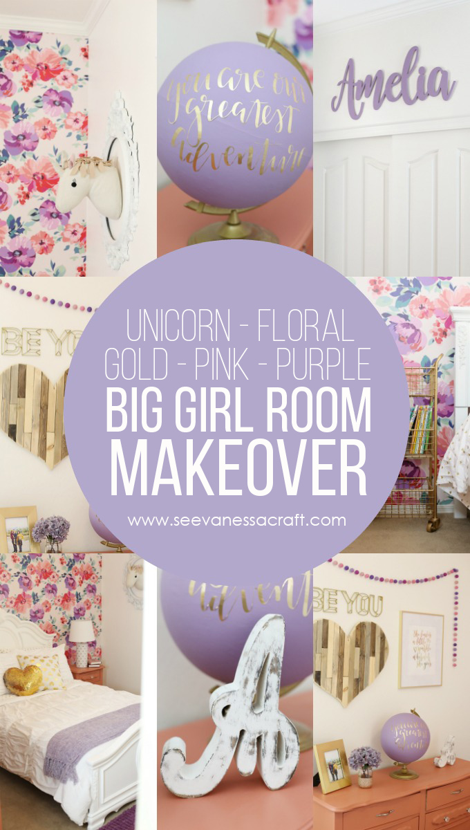 Floral Big Girl Room Makeover with Gold Unicorn Purple and Pink Accents
