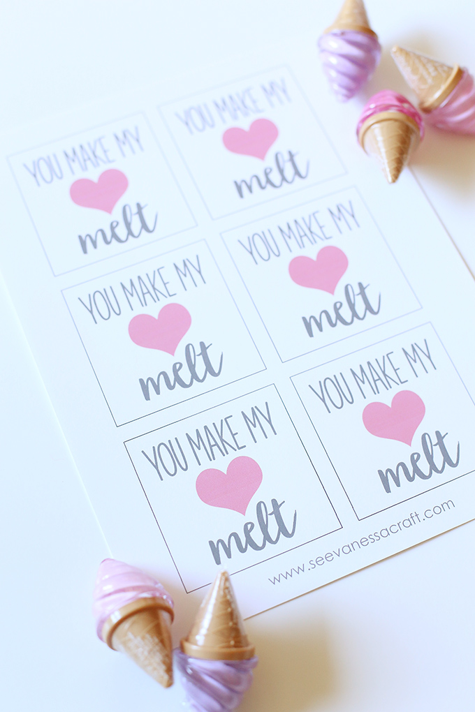 You Make My Heart Melt Printable Ice Cream Lip Gloss Tags for Valentine's Day