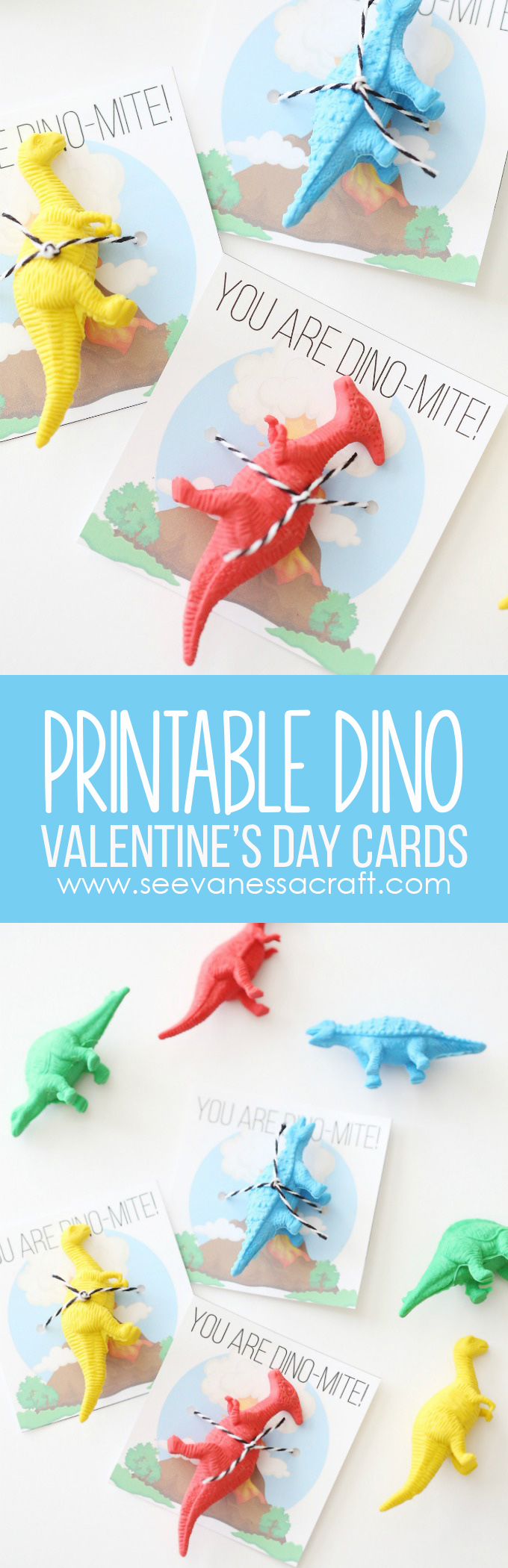 Printable Dinosaur Valentines Day Cards for Kids