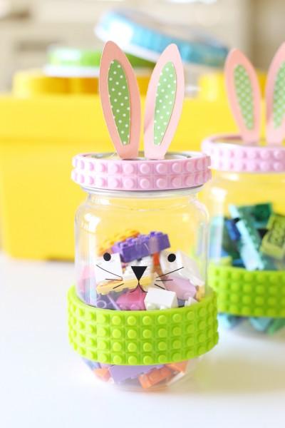 Easter: LEGO Tape Bunny Jar