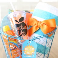 Summer Teacher Appreciation Gift Basket Idea with Printable Tags