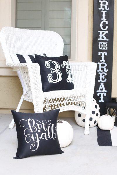 Halloween: Black and White Porch Decor with Cricut Maker