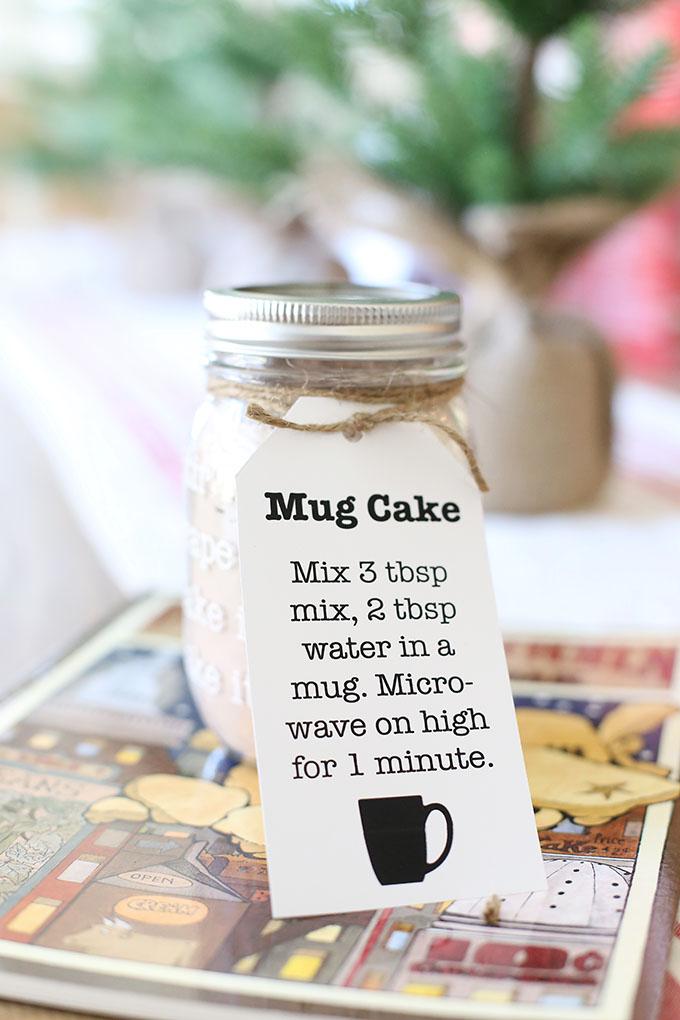 Easy Chocolate Mug Cake Mix Jar Gift Idea For Christmas With Printable Tags