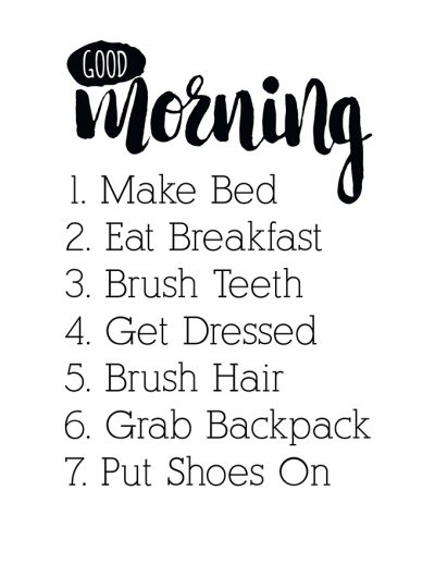 photograph regarding Morning Routine Checklist Printable called Boy or girl Welcoming: Early morning Plan Chore Chart Printable - Perspective