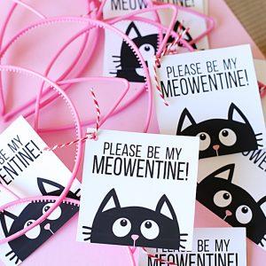 Valentine's Day: Cat Headband Printable Valentine Tags