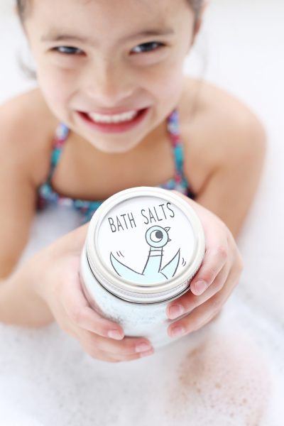 DIY Peppermint Bath Salts Craft with Printable Pigeon Book Gift Tags