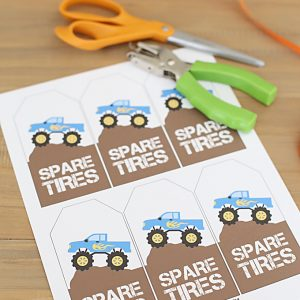 Monster Jam Party Favors with Printable Tags