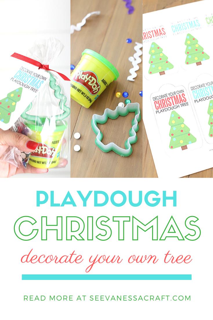 Playdough Christmas Tree Gift Idea for Kids with Free Printable Tags