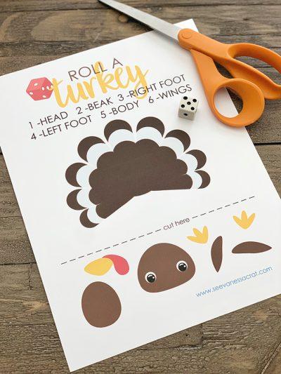 Free Printable Thanksgiving Turkey Dice Game for Kids