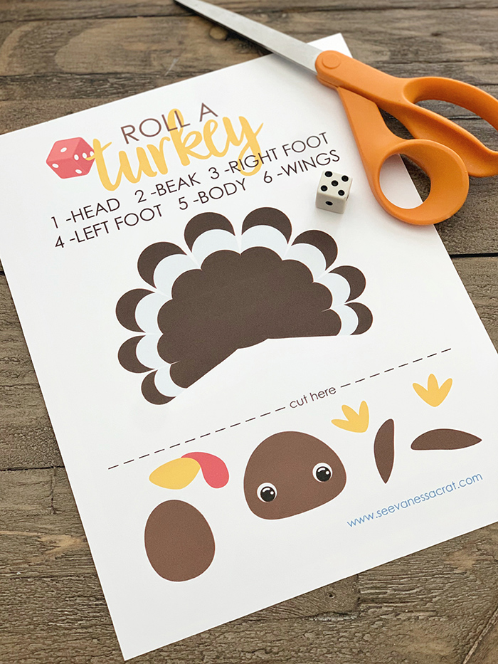 Free Printable Roll A Turkey Dice Game for Kids